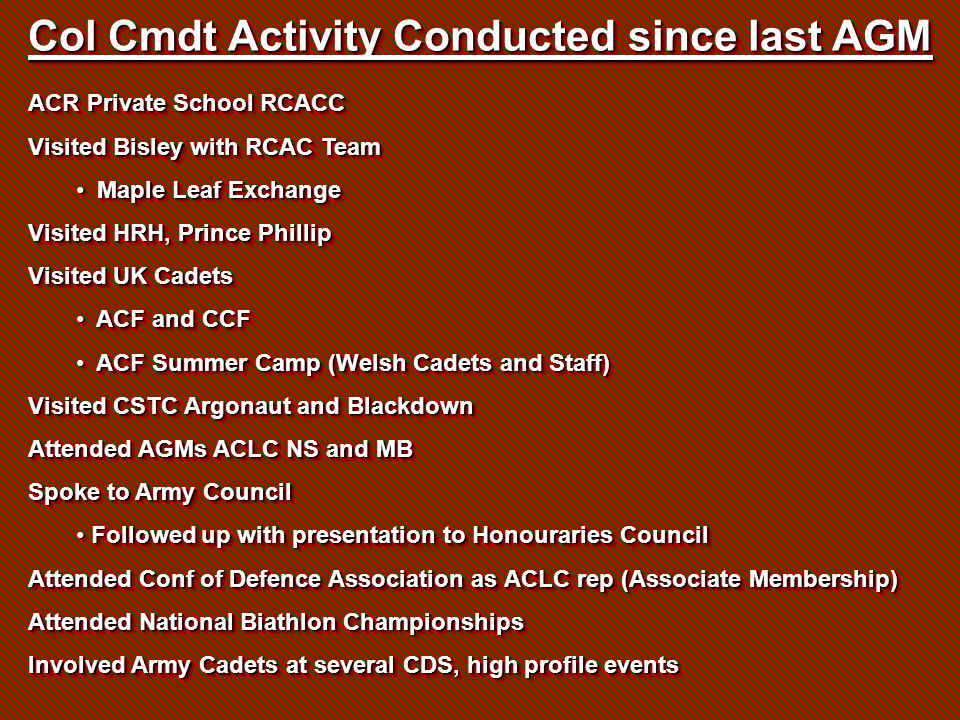 Col Cmdt Activity Conducted since last AGM ACR Private School RCACC Visited Bisley with RCAC Team Maple Leaf Exchange Maple Leaf Exchange Visited HRH,