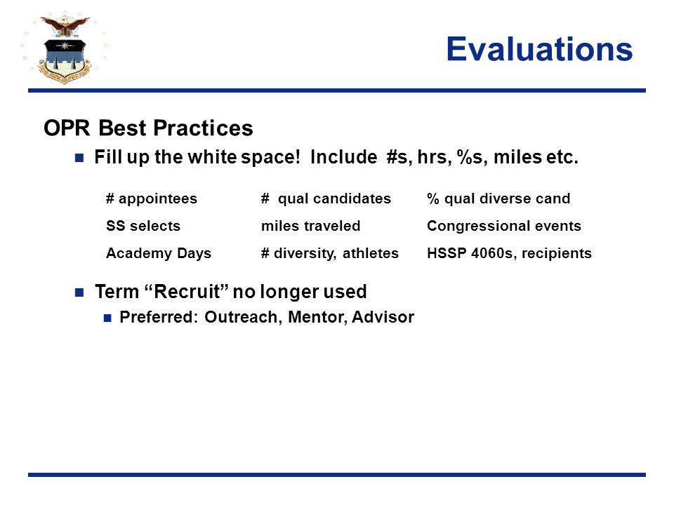 Evaluations OPR Best Practices Fill up the white space.