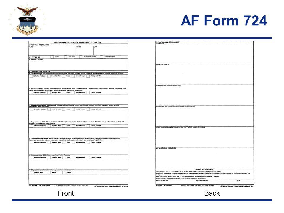 AF Form 724 FrontBack