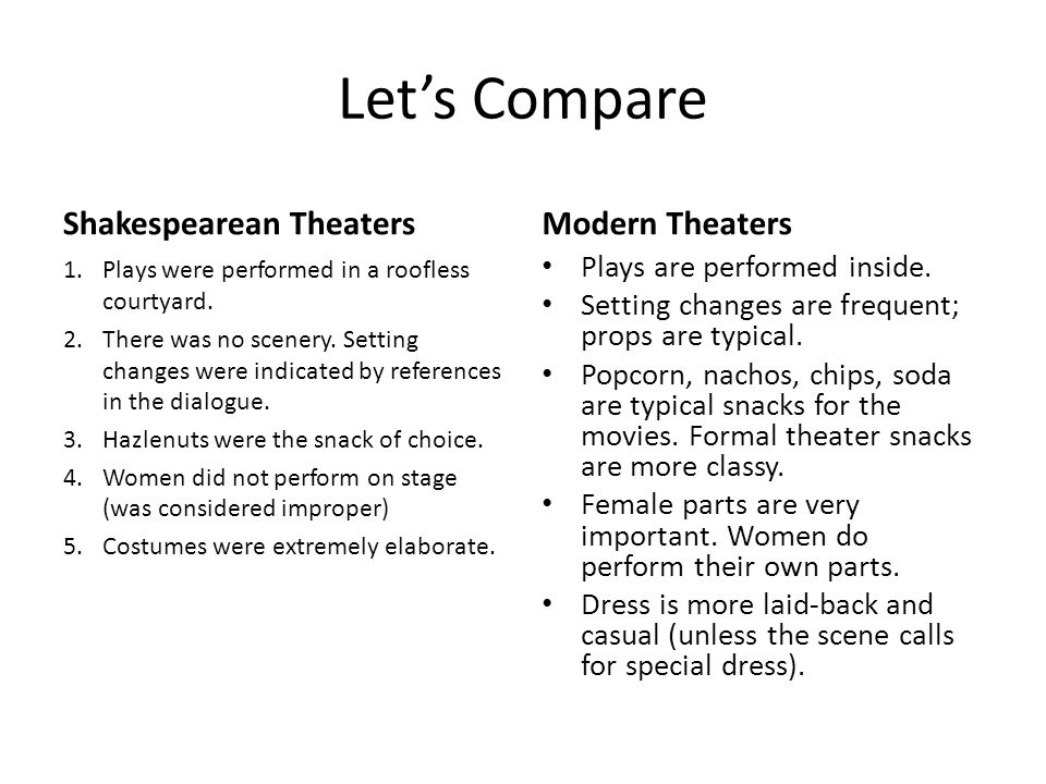 Let's Compare Shakespearean Theaters 1.Plays were performed in a roofless courtyard. 2.There was no scenery. Setting changes were indicated by referen