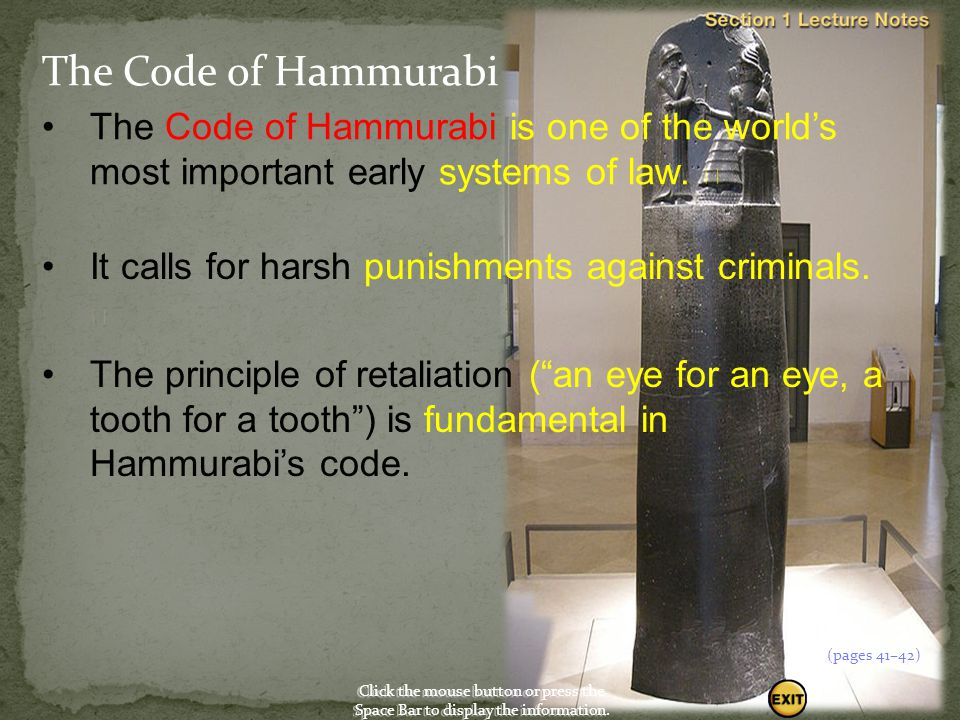 Click the mouse button or press the Space Bar to display the information. Empires in Ancient Mesopotamia In 1792 B.C., Hammurabi of Babylon, a city-st