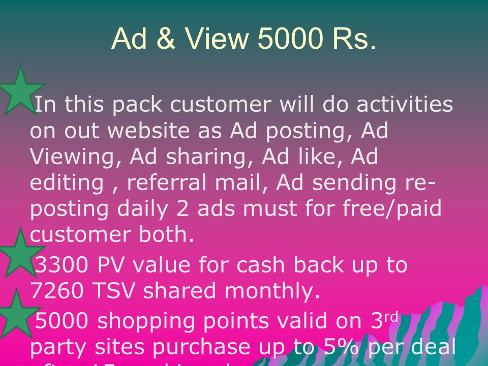 Ad & View 5000 Rs. In this pack customer will do activities on out website as Ad posting, Ad Viewing, Ad sharing, Ad like, Ad editing, referral mail,