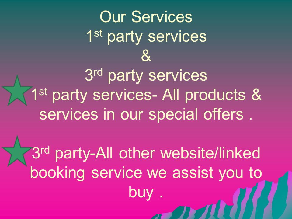 Our Services 1 st party services & 3 rd party services 1 st party services- All products & services in our special offers. 3 rd party-All other websit