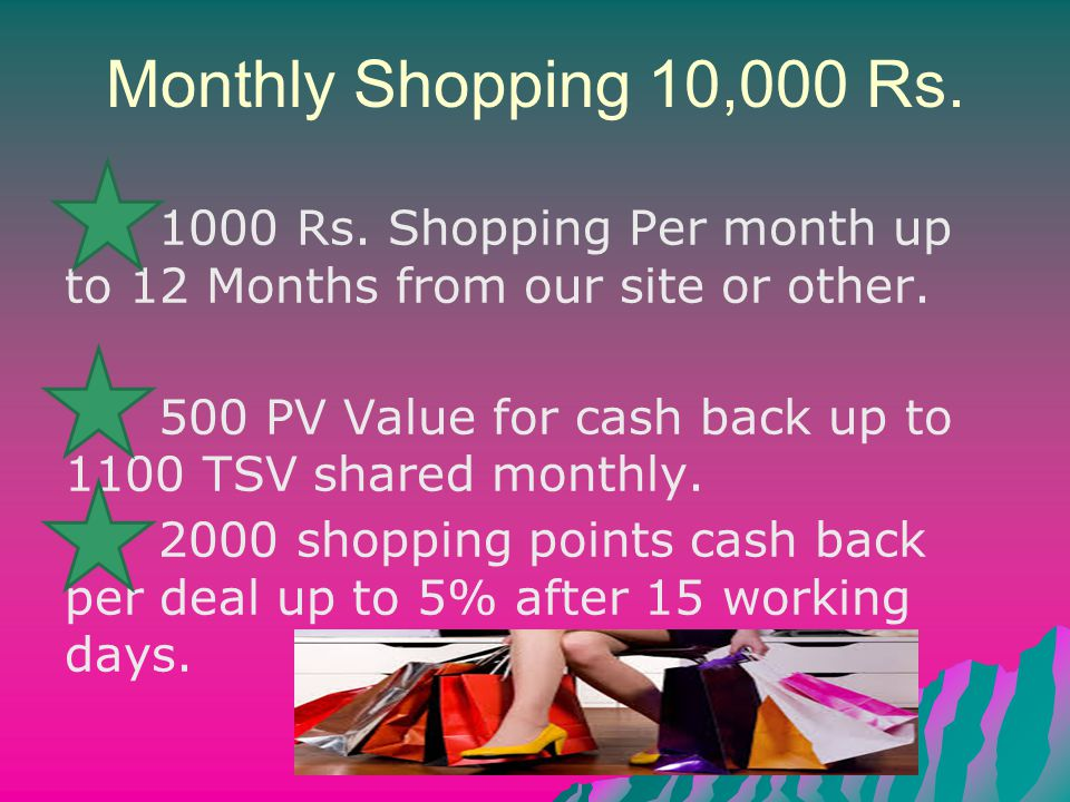 Monthly Shopping 10,000 Rs. 1000 Rs. Shopping Per month up to 12 Months from our site or other.