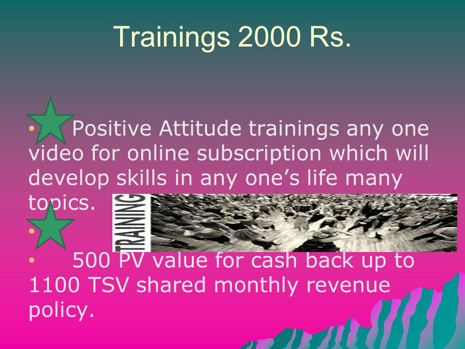 Trainings 2000 Rs. Positive Attitude trainings any one video for online subscription which will develop skills in any one's life many topics. 500 PV v