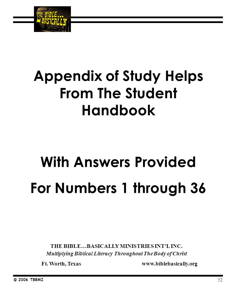 Seminar Study Help Number © 2006 TBBMI NOTE TO STUDENTS: THIS IS THE SET OF STUDY HELPS FOR REPRODUCTION AND USE ALONG WITH THE POWERPOINT PRESENTATION.