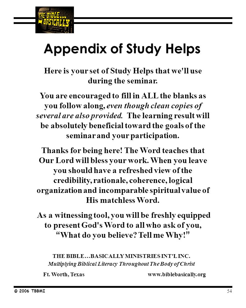 Seminar Study Help Number © 2006 TBBMI _____ B.C.____ B.C.