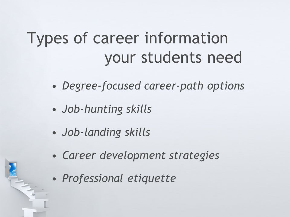 Types of career information your students need Degree-focused career-path options Job-hunting skills Job-landing skills Career development strategies Professional etiquette