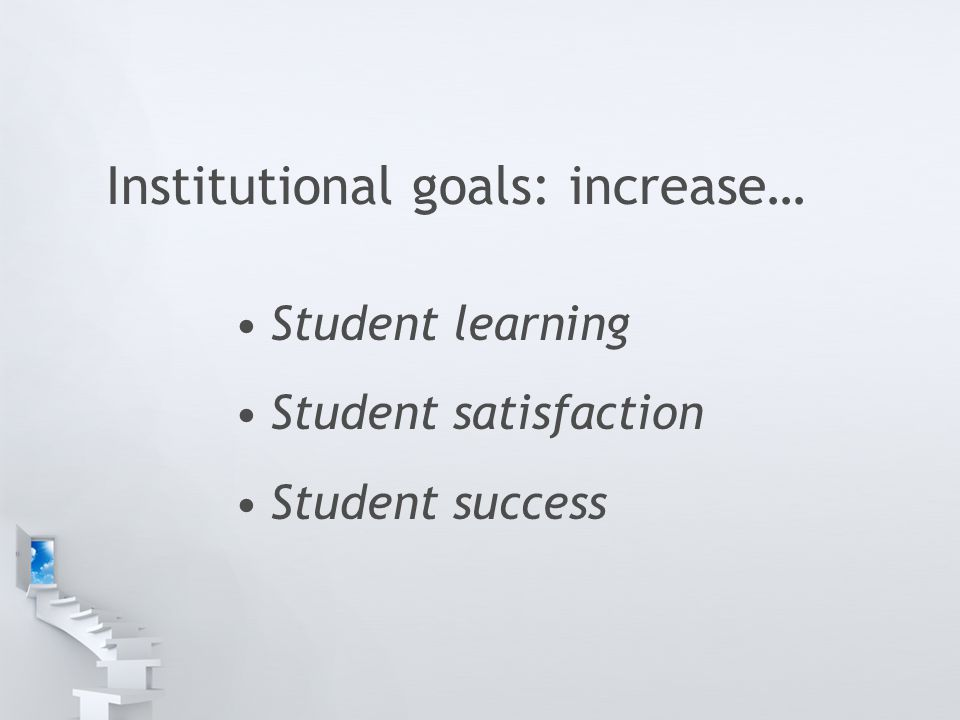 Institutional goals: increase… Student learning Student satisfaction Student success