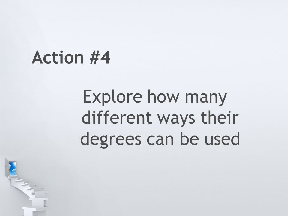 Action #4 Explore how many different ways their degrees can be used