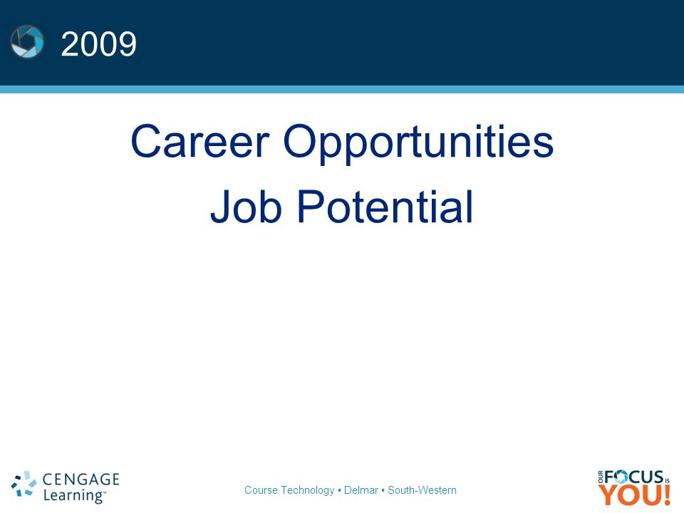 Course Technology ▪ Delmar ▪ South-Western 2009 Career Opportunities Job Potential
