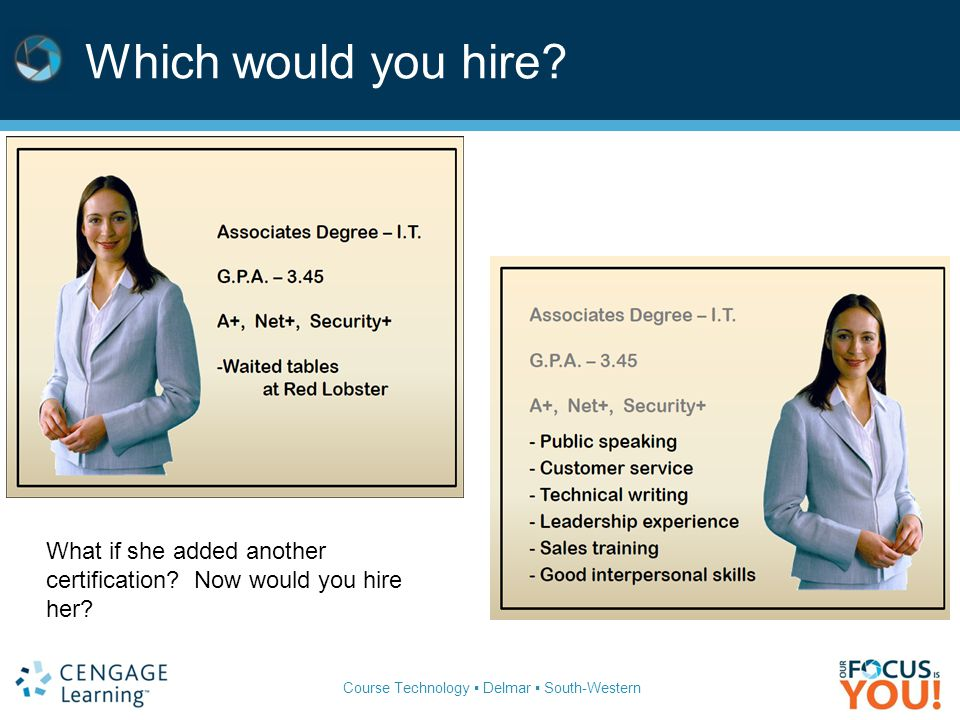 Which would you hire What if she added another certification Now would you hire her