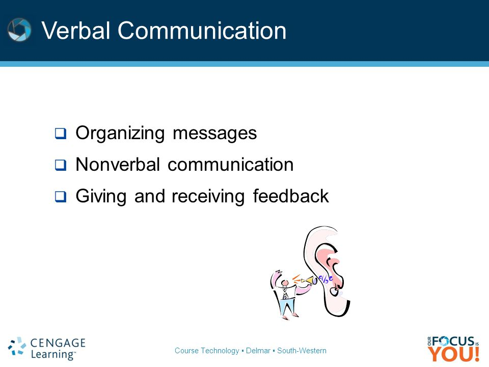 Verbal Communication  Organizing messages  Nonverbal communication  Giving and receiving feedback