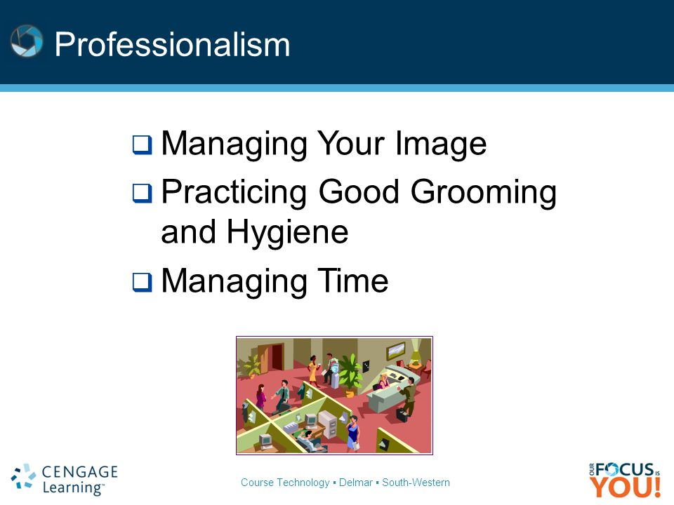 Course Technology ▪ Delmar ▪ South-Western Professionalism  Managing Your Image  Practicing Good Grooming and Hygiene  Managing Time