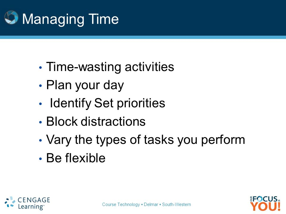 Course Technology ▪ Delmar ▪ South-Western Managing Time Time-wasting activities Plan your day Identify Set priorities Block distractions Vary the types of tasks you perform Be flexible