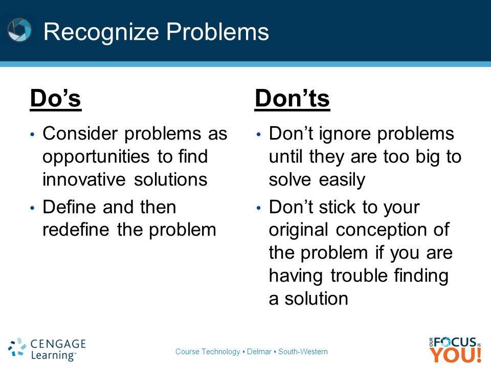 Course Technology ▪ Delmar ▪ South-Western Recognize Problems Do'sDon'ts Consider problems as opportunities to find innovative solutions Define and then redefine the problem Don't ignore problems until they are too big to solve easily Don't stick to your original conception of the problem if you are having trouble finding a solution