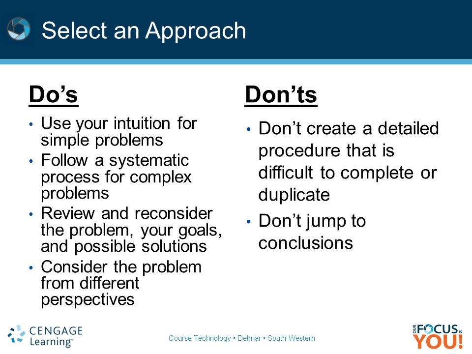 Course Technology ▪ Delmar ▪ South-Western Select an Approach Do's Don'ts Use your intuition for simple problems Follow a systematic process for complex problems Review and reconsider the problem, your goals, and possible solutions Consider the problem from different perspectives Don't create a detailed procedure that is difficult to complete or duplicate Don't jump to conclusions