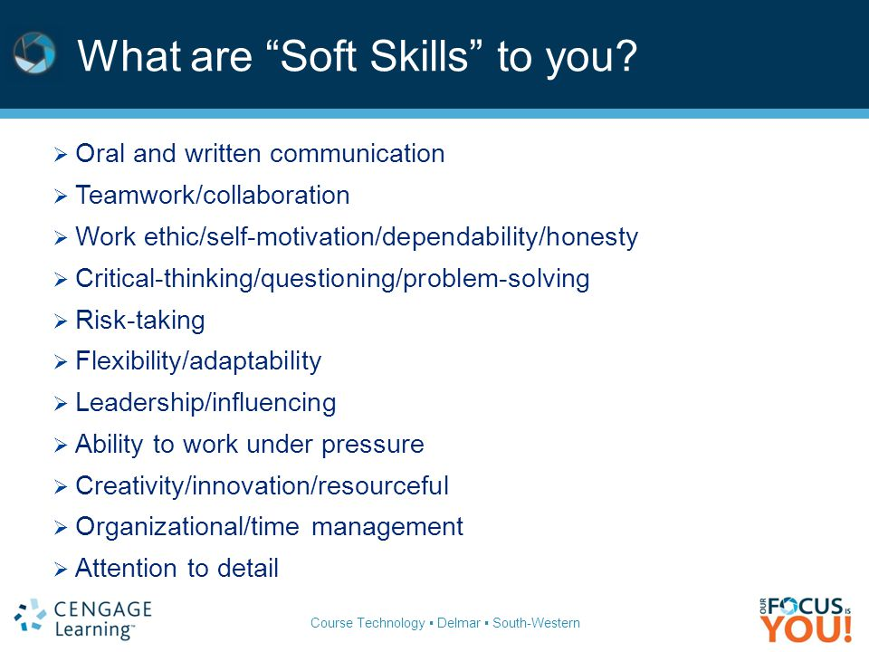 Course Technology ▪ Delmar ▪ South-Western Soft Skills – What % of grade.