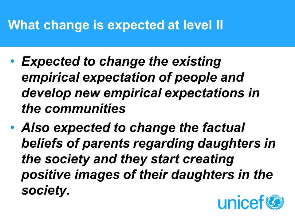 What change is expected at level II Expected to change the existing empirical expectation of people and develop new empirical expectations in the communities Also expected to change the factual beliefs of parents regarding daughters in the society and they start creating positive images of their daughters in the society.