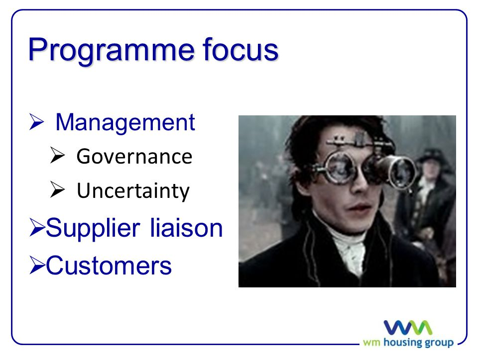 Programme focus  Management  Governance  Uncertainty  Supplier liaison  Customers