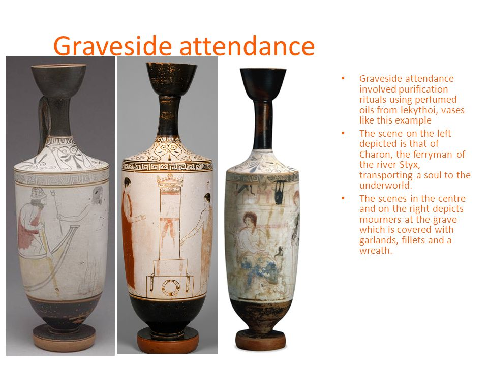 Graveside attendance Graveside attendance involved purification rituals using perfumed oils from lekythoi, vases like this example The scene on the left depicted is that of Charon, the ferryman of the river Styx, transporting a soul to the underworld.