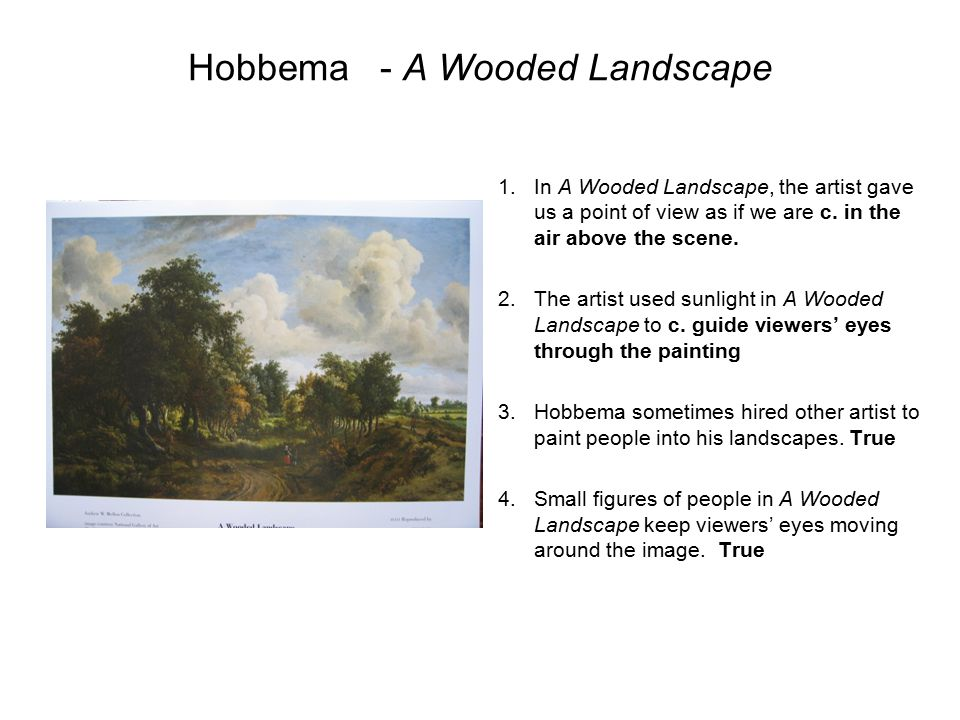 Hobbema- A Wooded Landscape 1.In A Wooded Landscape, the artist gave us a point of view as if we are c. in the air above the scene. 2.The artist used