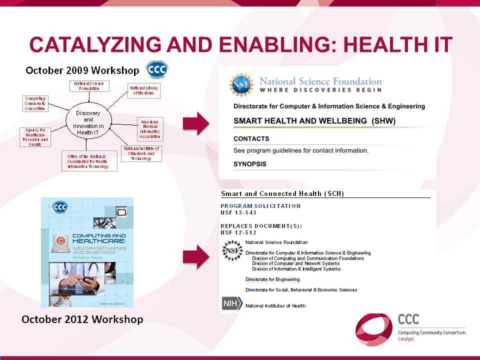 CATALYZING AND ENABLING: HEALTH IT October 2012 Workshop