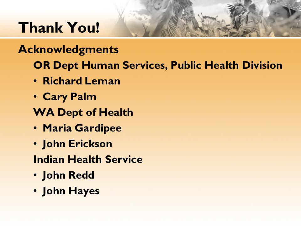 Thank You! Acknowledgments OR Dept Human Services, Public Health Division Richard Leman Cary Palm WA Dept of Health Maria Gardipee John Erickson India