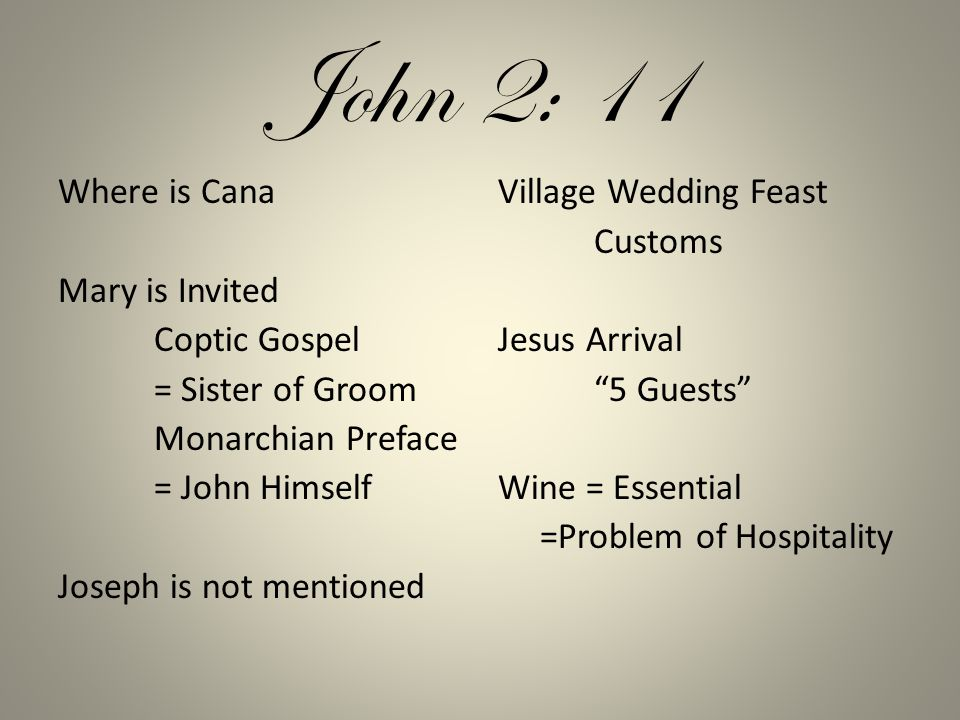 John 2: 11 Where is Cana Mary is Invited Coptic Gospel = Sister of Groom Monarchian Preface = John Himself Joseph is not mentioned Village Wedding Feast Customs Jesus Arrival 5 Guests Wine = Essential =Problem of Hospitality