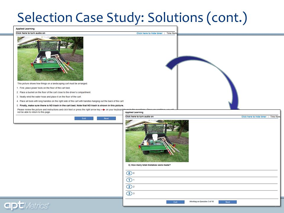 Selection Case Study: Solutions (cont.) 9