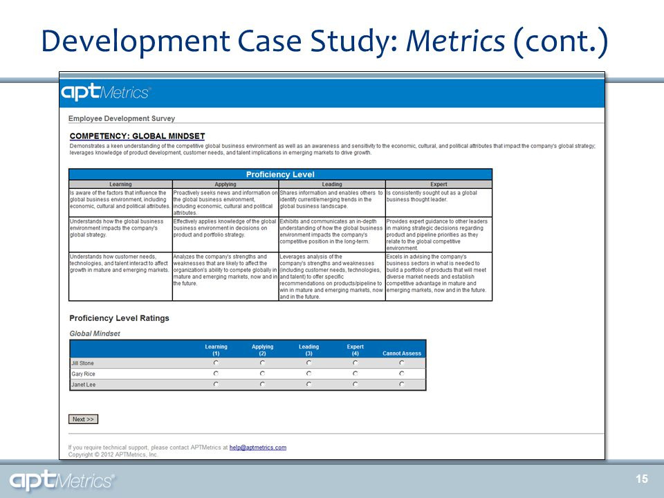 Development Case Study: Metrics (cont.) 15