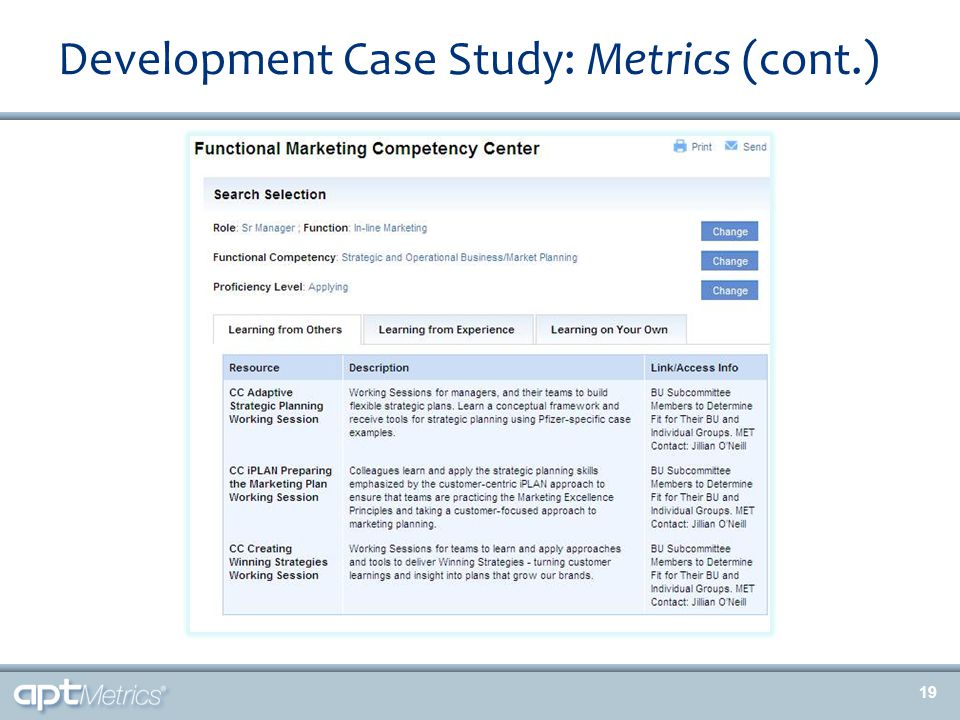 Development Case Study: Metrics (cont.) 19