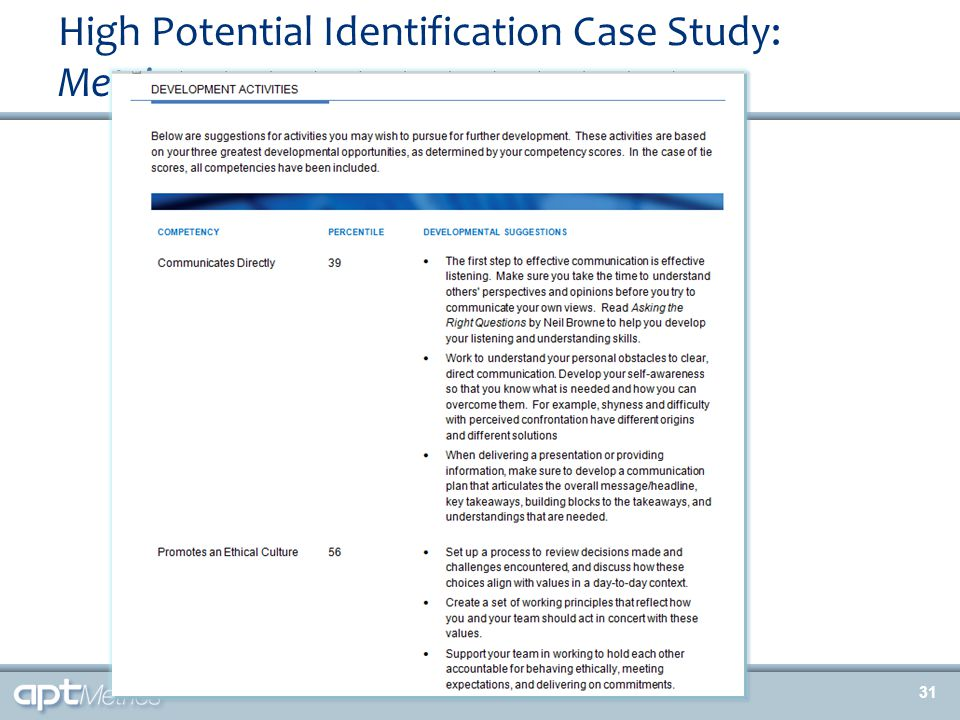 High Potential Identification Case Study: Metrics 31