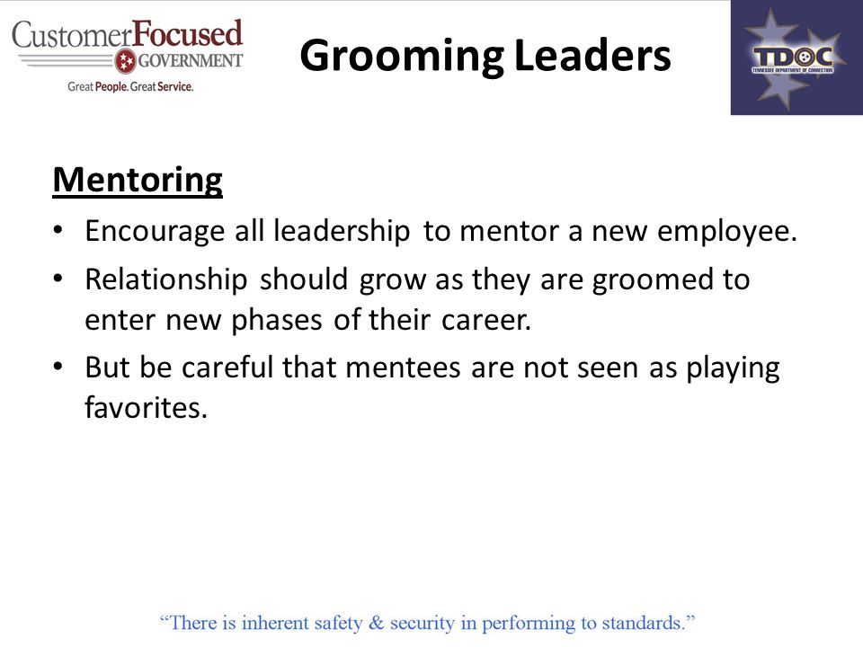 Mentoring Encourage all leadership to mentor a new employee.