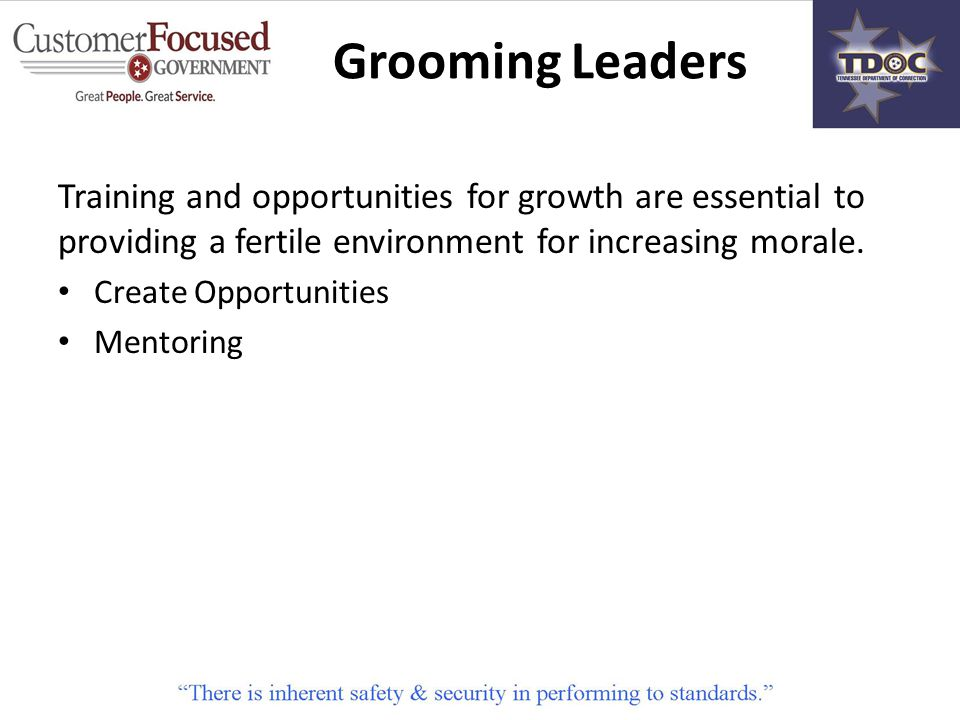 Training and opportunities for growth are essential to providing a fertile environment for increasing morale.