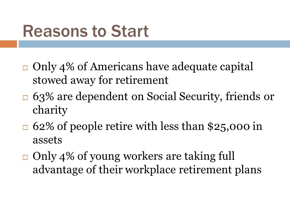 Reasons to Start  Only 4% of Americans have adequate capital stowed away for retirement  63% are dependent on Social Security, friends or charity  62% of people retire with less than $25,000 in assets  Only 4% of young workers are taking full advantage of their workplace retirement plans