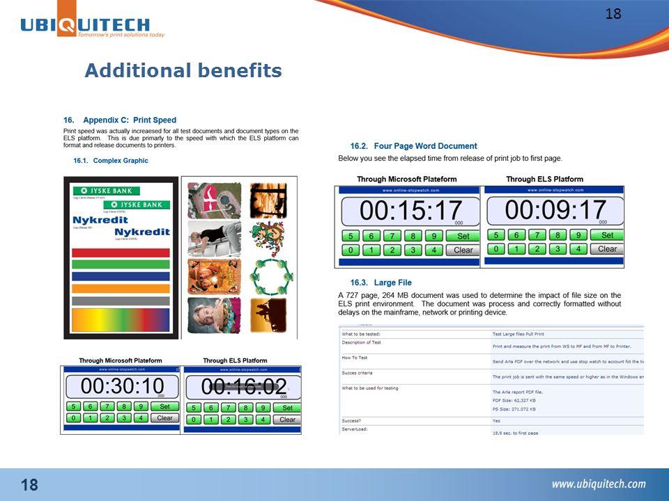 18 Additional benefits 18