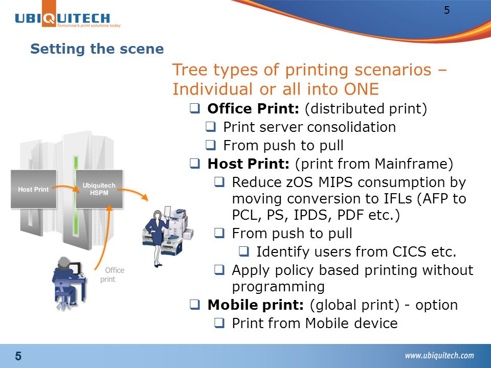 Solution Description Enterprise Linux Printing Services (ELPS) Use Mainframe strength to print office document from any devices to any printer Consolidate many distributed printing server to one ELS using BP Ubiquitech solution Reduce MIPS consumption by offloading z/OS print jobs to Linux on z using BP MPI Tech solution Secure your print, Users pull print after identifying themselves on any printer part of the solution Enterprise Linux Server, core of the solution A CAMS solution: New Linux System z workload Key Assets TopDanmark Client reference: TopDanmark (insurance, Denmark) Videos on Youtube: STG Europe: Ubiquitech on ELSUbiquitech on ELS Ubiquitech: Solution overviewSolution overview BPs: Ubiquitech, MPI TechUbiquitechMPI Tech Benchmark report IBM Mainframe print solution against Microsoft Print server available on demand Live demonstration available in Montpellier Client Center How to identify solution opportunities.