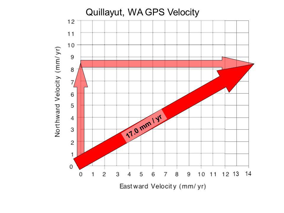 Quillayut, WA GPS Velocity 13 14 17.0 mm / yr