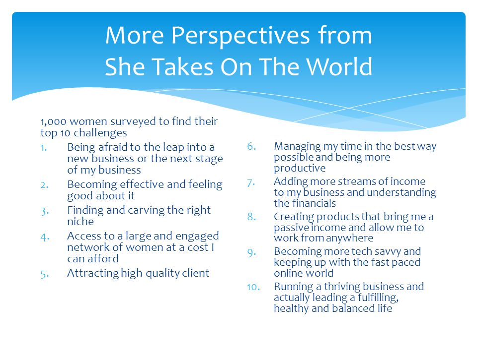 More Perspectives from She Takes On The World 1,000 women surveyed to find their top 10 challenges 1.Being afraid to the leap into a new business or t