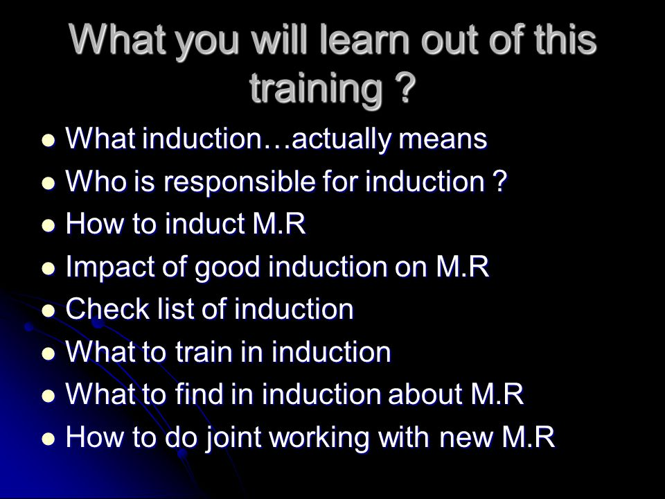 What you will learn out of this training .