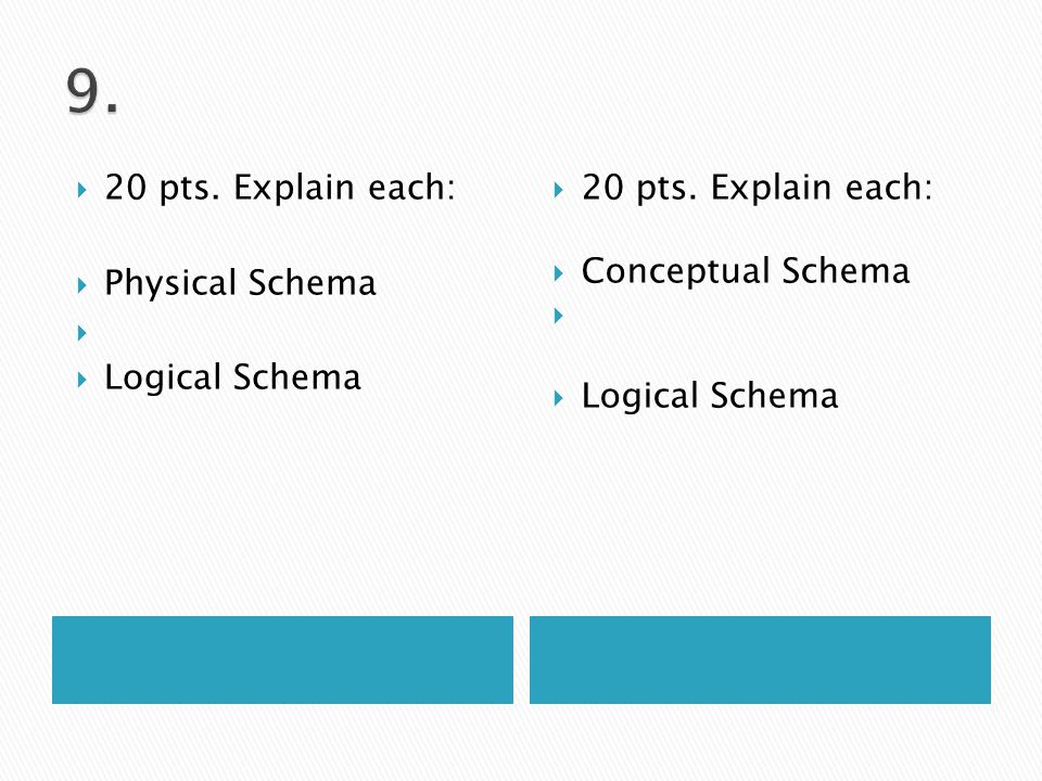  20 pts. Explain each:  Physical Schema   Logical Schema  20 pts. Explain each:  Conceptual Schema   Logical Schema