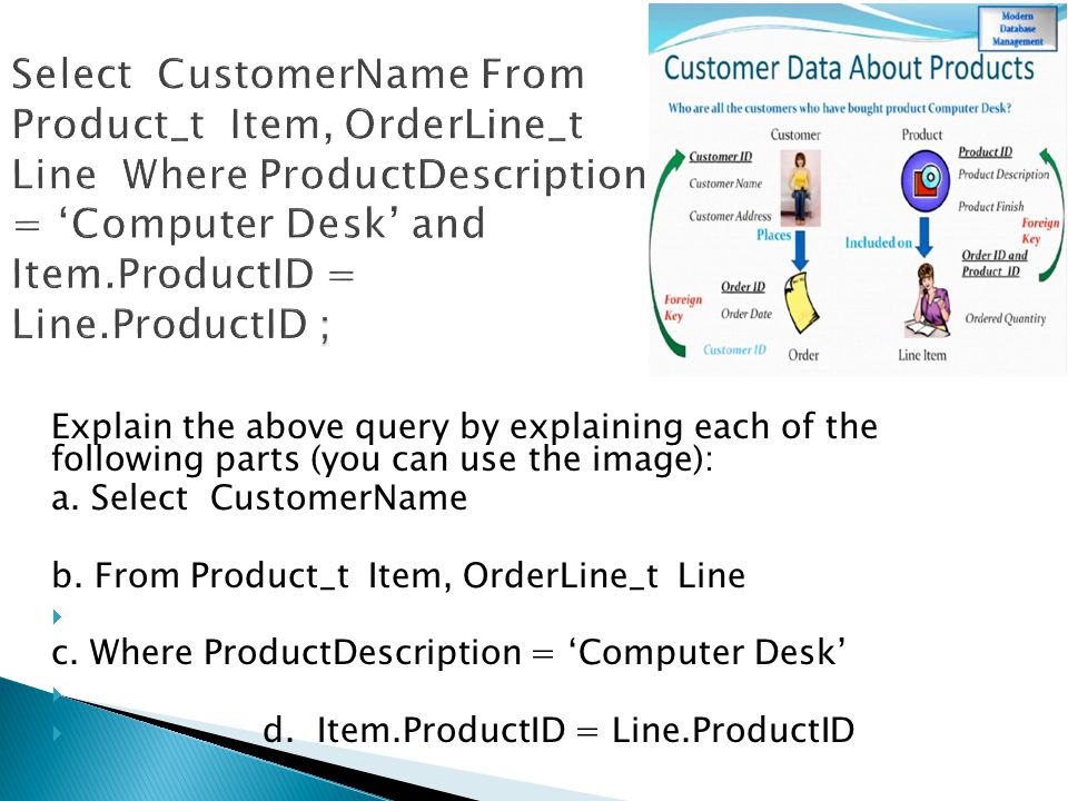 Explain the above query by explaining each of the following parts (you can use the image): a. Select CustomerName b. From Product_t Item, OrderLine_t