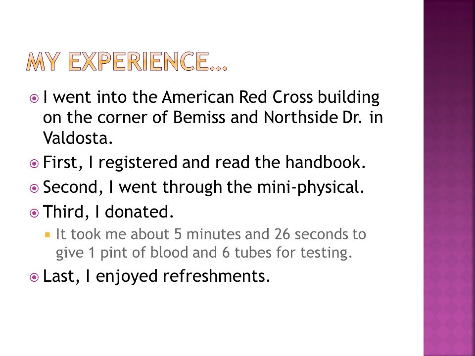  I went into the American Red Cross building on the corner of Bemiss and Northside Dr.