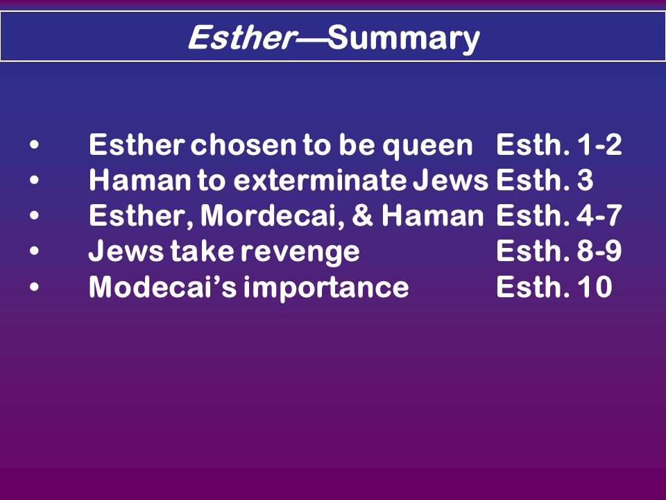 Esther—Summary Esther chosen to be queenEsth. 1-2 Haman to exterminate JewsEsth.