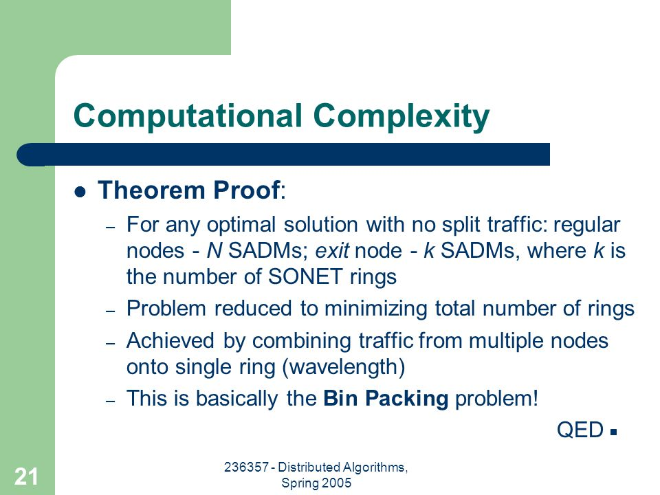 236357 - Distributed Algorithms, Spring 2005 21 Computational Complexity Theorem Proof: – For any optimal solution with no split traffic: regular nodes - N SADMs; exit node - k SADMs, where k is the number of SONET rings – Problem reduced to minimizing total number of rings – Achieved by combining traffic from multiple nodes onto single ring (wavelength) – This is basically the Bin Packing problem.