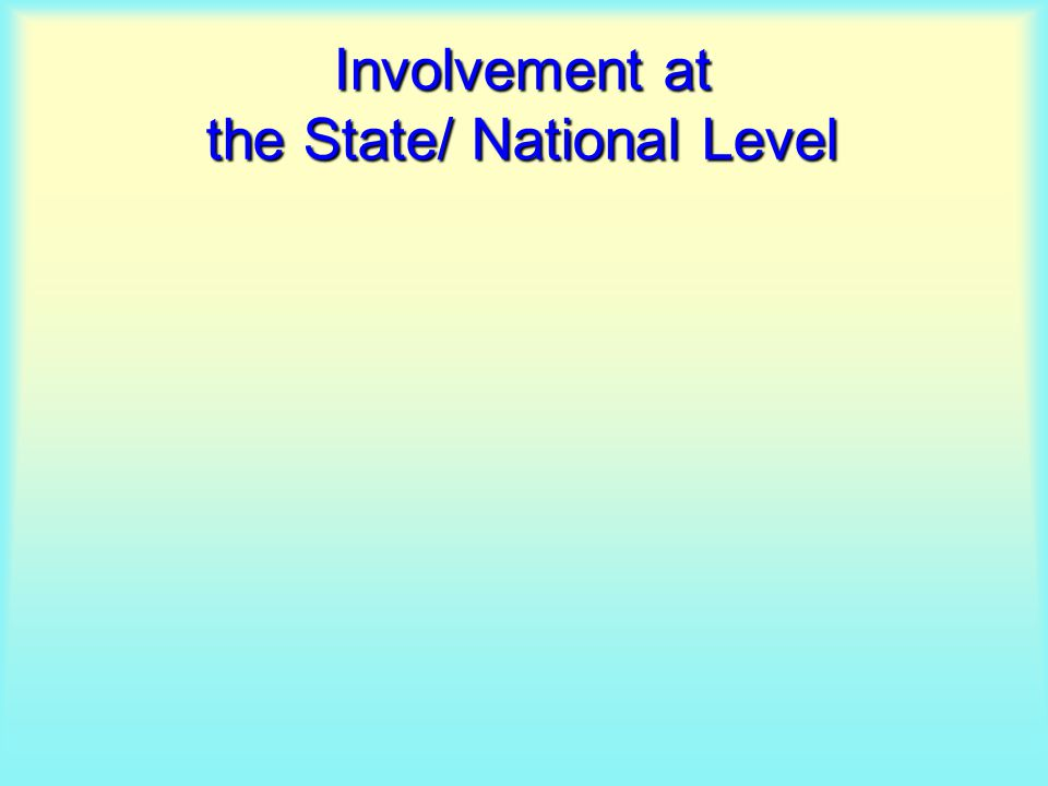 Involvement at the State/ National Level