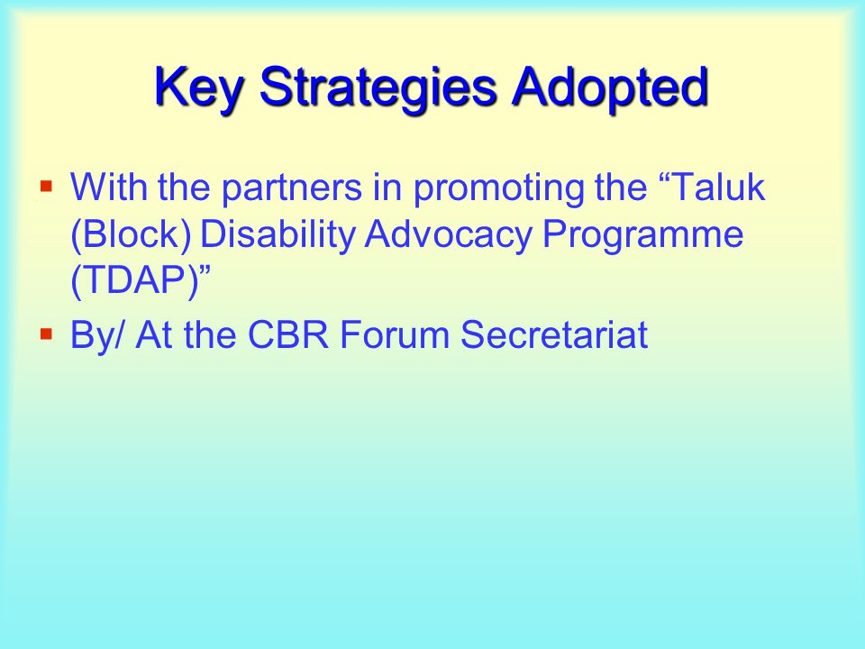 Key Strategies Adopted  With the partners in promoting the Taluk (Block) Disability Advocacy Programme (TDAP)  By/ At the CBR Forum Secretariat