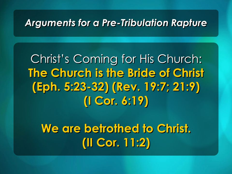 The contrasts between the Rapture and the Second Coming of Christ to earth Arguments for a Pre-Tribulation Rapture