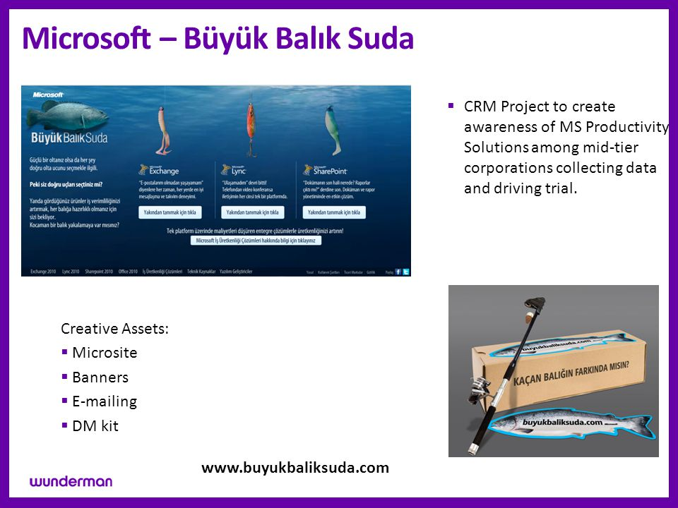 Microsoft – Büyük Balık Suda  CRM Project to create awareness of MS Productivity Solutions among mid-tier corporations collecting data and driving trial.